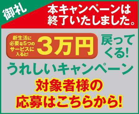 3万円キャッシュバックキャンペーン